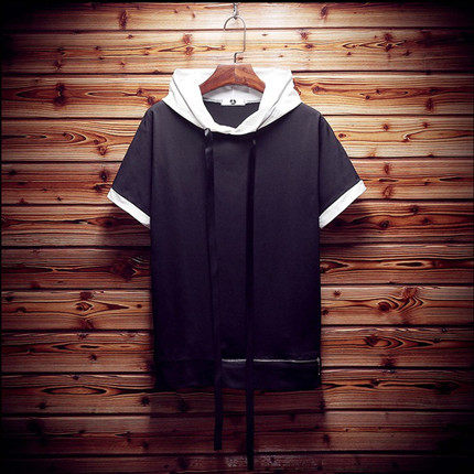 Japanese Mens Hooded Sweater Mens Size loose short sleeved Summer Youth couple insert five sleeve sweater tide