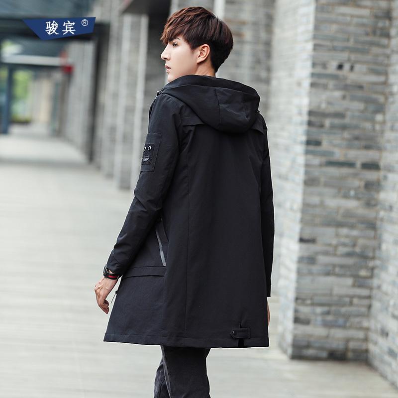 2017秋冬季新款风衣男士中长款韩版修身加厚保暖外套男青年帅气潮