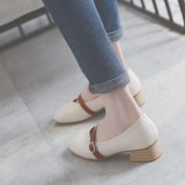 2018春季新款玛丽珍鞋韩版中跟复古奶奶鞋女粗跟一字扣方头单鞋子