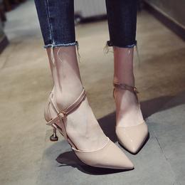单鞋女春季2018新款韩版细跟一字扣凉鞋女猫跟尖头百搭中空高跟鞋