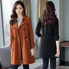 2017 autumn winter new Korean double breasted long sleeved waist drawstring temperament long windbreaker jacket dress female