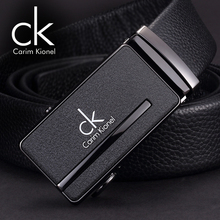 CK pure leather belt buckle youth men all-match Automatic Mens Leather Belt Buckle simple smooth.