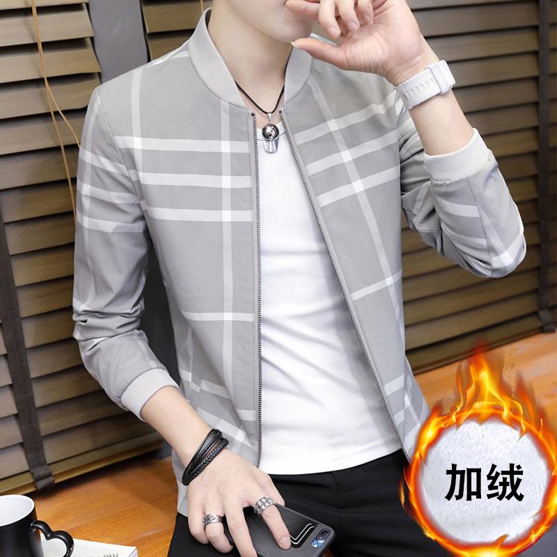 外套男冬季韩版2017潮流帅气修身个性新款加厚秋季加绒夹克衣服