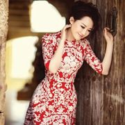 Fan Bingbing with the goddess of the same paragraph dress embroidered lotus leaf bride toast dress bridesmaid dress red cheongsam Xu Qing