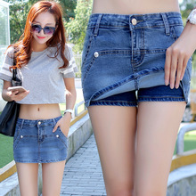 High waisted denim shorts skirt 2017 seasons all-match Amoi thin size female Korean hot pants casual skirt