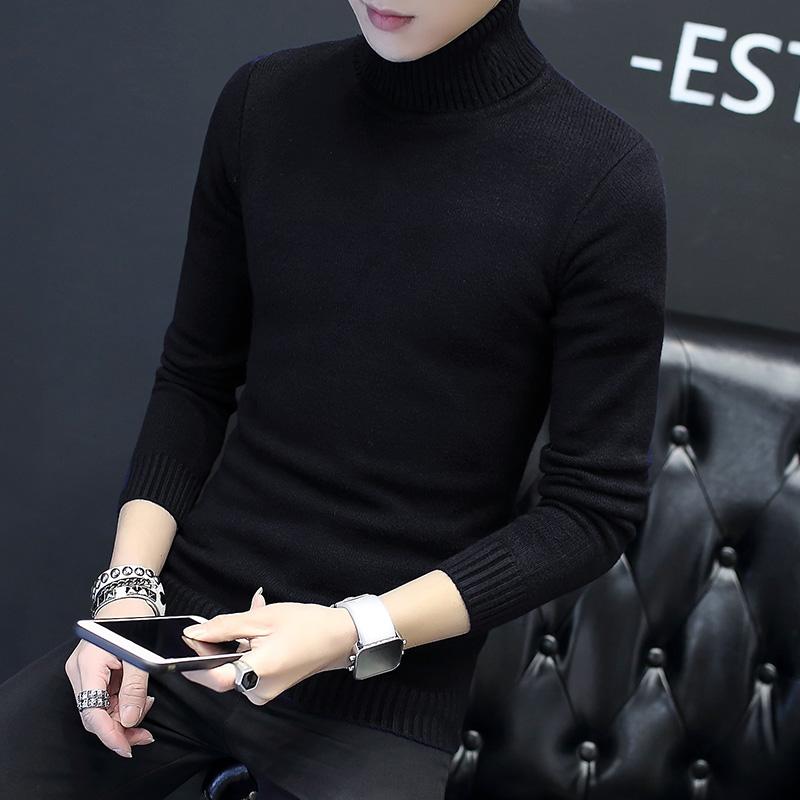 高领毛衣男士针织衫韩版潮流个性加绒加厚冬毛线衣冬季修身打底衫