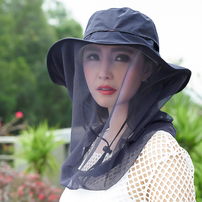 Sun hat, windproof UV, outdoor sun hat, mosquito, bee, hat, veil, face, bicycle and sun