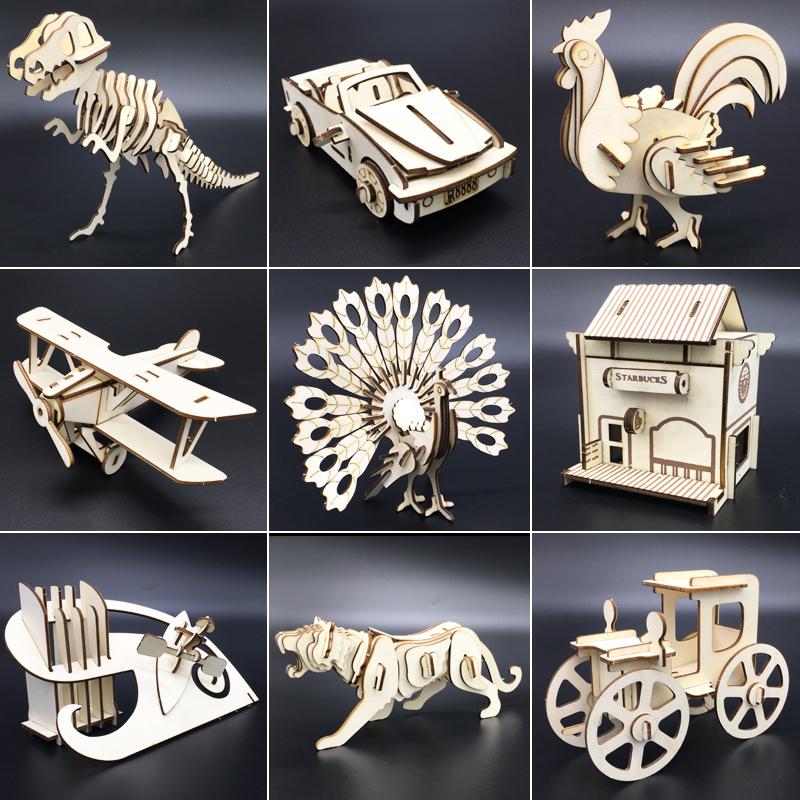 3d立体拼图木质拼装模型激光切割仿真创意diy手工制作益智玩具