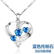 Valentine's day gifts S925 pure silver heart-shaped violet crystal pendant tide models present female plating platinum blue topaz stone