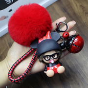 Men and women couples lovely cartoon plush ball Kiki Car Keychain ring chain and creative bell hanging bag