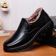 Casual leather shoes male shoes winter warm suede leather winter shoes non-slip soft bottom middle-aged father shoes Dad shoes