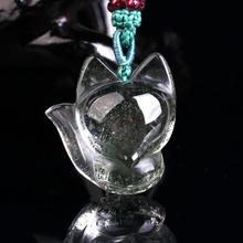 Natural green ghost fox natural crystal jewelry gift Pendant Necklace and adorable Fox
