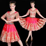 Indian women's 2017 new folk style dance costume sexy belly dancer skirt suits costume women adult