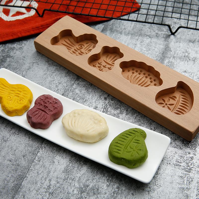 蒸儿童花式面食模具木头月饼中式模型新手模子烘焙水果糕点花器