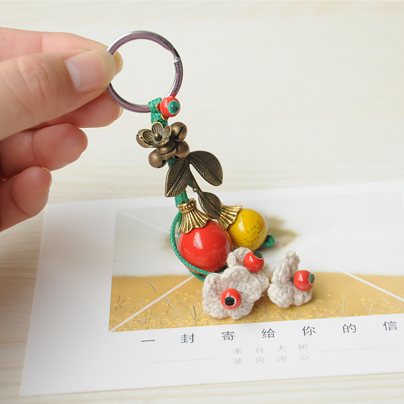 Jump hall, lovely little fresh art, fresh national wind, ceramic originality, key ring, gift, colorful fruits