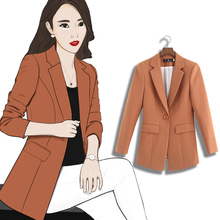 Casual small suit female jacket long section 2018 spring and autumn new Korean version of the waist suit jacket black professional wear