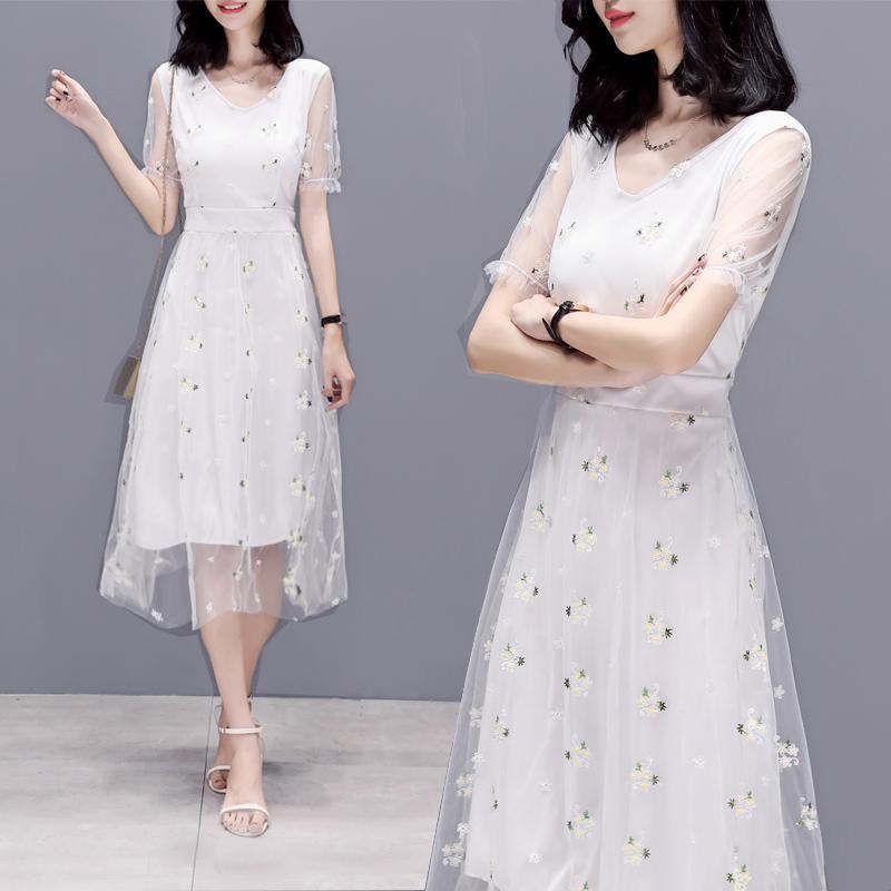 韩版冷淡风雪纺裙子2019夏季新款超仙收腰温柔裙网纱连衣裙女长裙