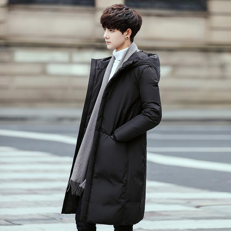 2017冬装新款艾莱依男装时尚羽绒服中长款加厚连帽韩版白鸭绒外套