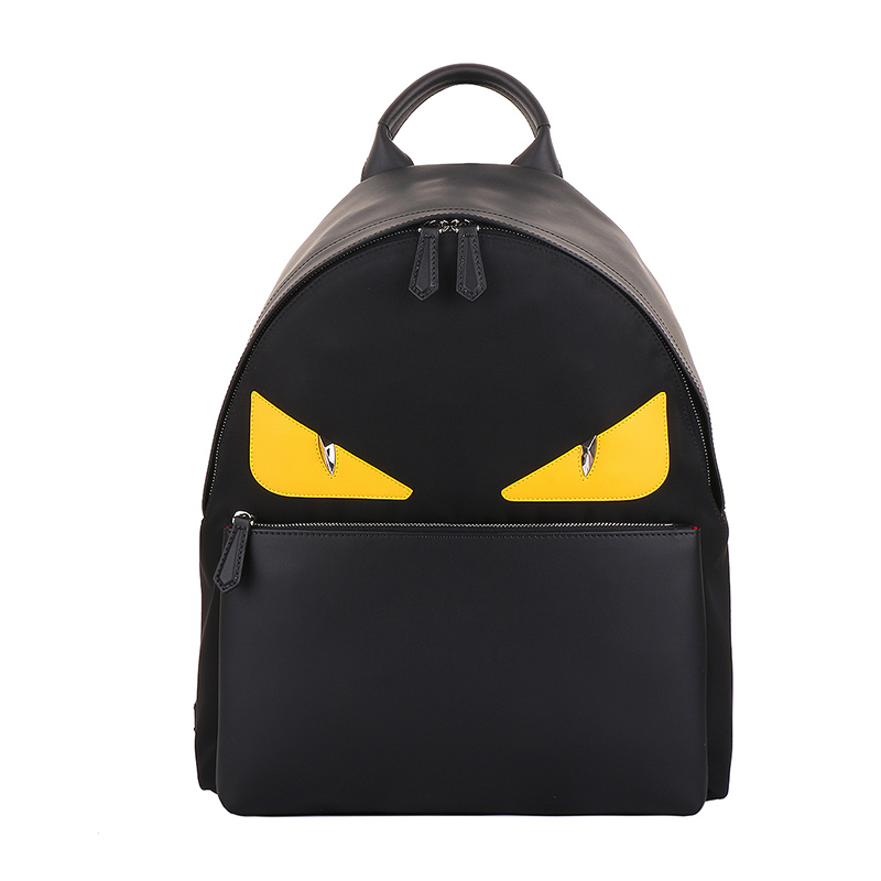 FENDI/芬迪 男款黑色 恶魔眼睛尼龙双肩背包 7VZ012新款现货