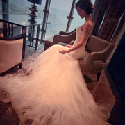 Bridal gown, bridal 2017 spring, new waist, tail fish, Korean court, word, shoulder, princess, sweet dream