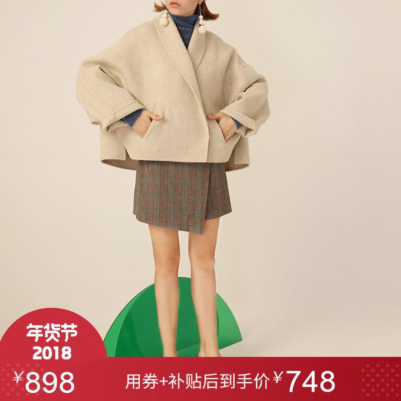 阿尔巴卡羊驼毛呢大衣女短款双面羊毛大衣手工廓形小个子毛呢外套