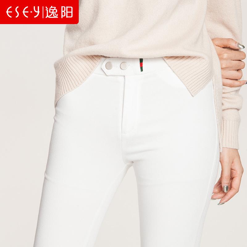 逸阳女裤2018春新款黑色打底裤女外穿紧身小脚裤女铅笔大码魔术裤