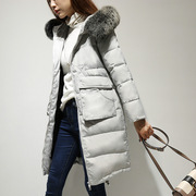 The winter season a new dress big fur collar Hooded Jacket slim long warm coat.