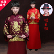 Wo Men's clothing show Chinese wedding dress costume dress wedding dress red Xiuhe groom Suit Jacket Robe Costume