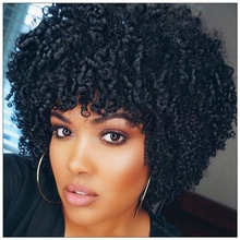 Short Afro Wig virgin human hair black curly wigs
