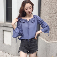 The fall of the new all-match Han van chic sweet pure flounce tie loose wind sleeve cotton shirt woman