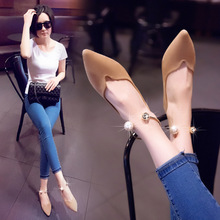Single shoes women's shoes flat shoes flat shoes pointed 2018 spring and autumn new wild Korean shallow mouth pearls four seasons shoes