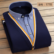 Warm winter men shirt plus velvet cardigan sweater two false thickened long sleeved sweater slim male Navy