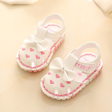 Female baby shoes sandals rubber soft bottom shoes 0-1-2 years old baby toddler shoes 0-6-12 princess shoes summer months