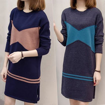 200 kg fat sister long knit sweater plus size womens clothing at the end of the spring fat mm slim sweater dress in summer