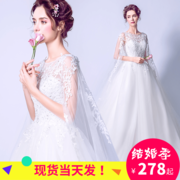 2017 new bride wedding dress a shoulder to thin Princess tail wedding veil of luxury