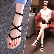 Sandals shoes shoes with flat shoes Rome shoes flip flops pinch 2016 summer new tide.