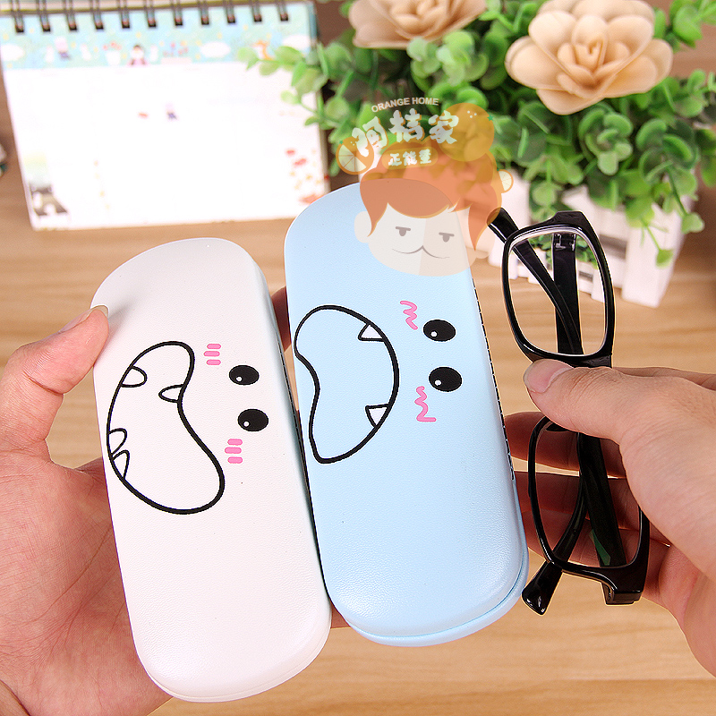 Package post Korea cute little fresh glasses box female student frame glasses case compression glasses storage box