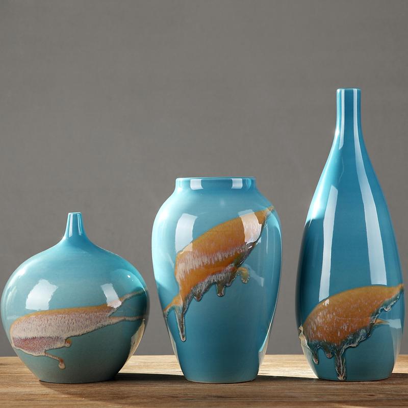 景德镇陶瓷家居软装饰品花瓶三件套摆件客厅中式创意艺术酒柜摆设