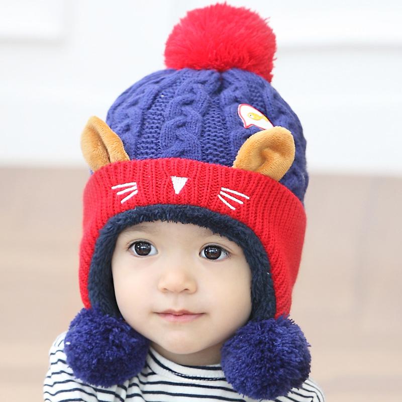 2017新款韩版卡通小猴子婴儿帽子宝宝帽子儿童帽子秋冬款毛绒帽子