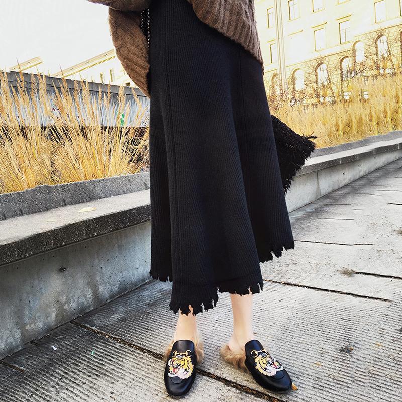秋冬季韩国纯色百搭毛线裙子学生加厚打底裙中长款针织高腰半身裙