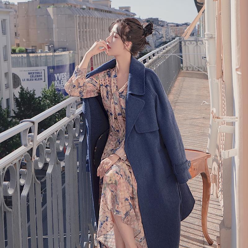 大喜手縫2018秋冬新款阿爾巴卡雙面呢大衣中長款韓版翻領毛呢外套