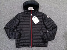 Authentic Moncler Mongol 18 spring and summer colourful stripes, tricolor, printed and hat, mens thin down jacket.