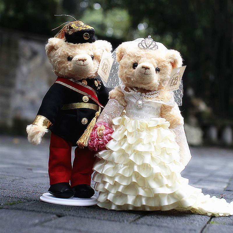 结婚公仔泰迪熊新婚礼物品情侣订婚压床娃娃婚庆小熊毛绒玩具一对