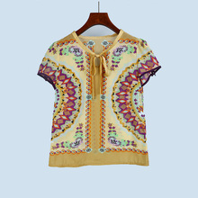 7002 counter LW 2017 summer New Womens Retro lace tee shirt 1031 geometric comfort
