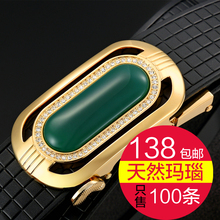 Cow leather belt leather belt youth leisure agate gem jade belt buckle belt automatic men 3.5CM
