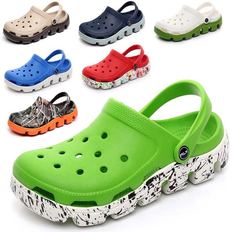 Bao Xia, double thick bottom, anti man hole, fashionable beach shoes, seasonal water shoes, black green, Baotou slippers, leisure