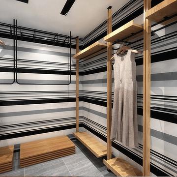 黑白灰竖条纹壁纸时尚复古简约店铺装修个性素色女装店服装店墙纸