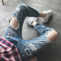 2643688b62d Korean version of the self-cultivation knee big hole jeans men's tide brand  loose 乞丐