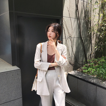 MALI/2018 summer new loose linen thin section simple casual wild small suit jacket female long section