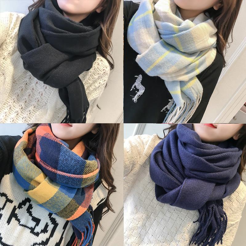 韩版毛线围巾男女款秋冬加厚长款仿羊绒披肩两用学生保暖围脖